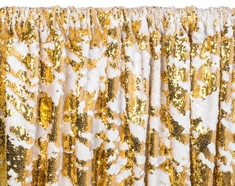 12 FT. Gold White Sequin Backdrop Photo Booth Back Drop Sparkly Background Prop Wedding Event Birthday Anniversary Mermaid Flip Reversible