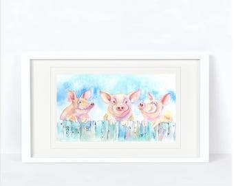 Three Little Piggies - Pig Print. Printed from an Original Sheila Gill Watercolour. Fine Art, Giclee Print, Hand Painted,Home Decor