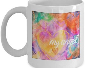 Cat Angel - Pet Memorial Gift - Angel Cat Mug - Cat Died Pet In Heaven - White Ceramic Coffee Tea Cup  11oz 15oz