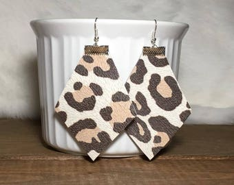 banana leopard leather earrings