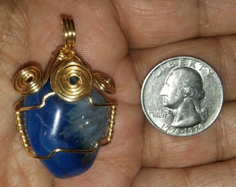 Wire Wrapped Polished Sodalite Pendant. Peace, Tranquility, Intuition, Creativity, Spiritual. Wire Wrapped Jewelry.