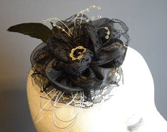 Fascinator Black Color, handmade in Belgium