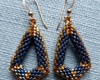 24 ct gold plated & teal coloured Delica seed beads, three dimensional drop earrings, 14 ct gold filled earring wires