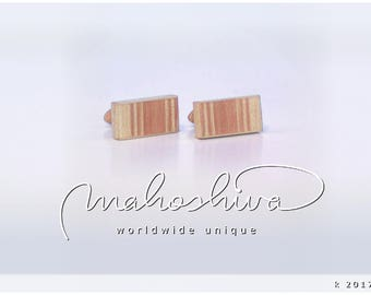 wooden cuff links wood flamed maple maple handmade unique exclusive limited jewelry - mahoshiva k 2017-87