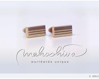 wooden cuff links wood walnut maple handmade unique exclusive limited jewelry - mahoshiva k 2017-15