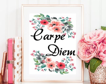 Carpe Diem Print, Wall Art, Digital print, Typography Print, Home Decor, Office Decor, Typography Art, Printable Art, Carpe Diem, Poster