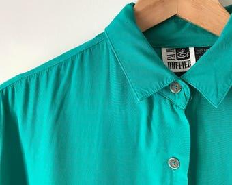 vintage Paul et Duffier turqouise rayon button-up blouse