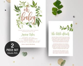 INSTANT DOWNLOAD Greenery Leaves Oh Baby Shower Invitation Printable Template - Glitter Copper - BONUS Detail Card