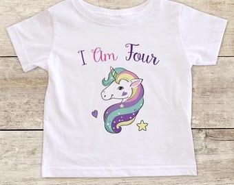 I Am Four Pretty Unicorn design boho - Fourth Birthday Girl Shirt 4th Age 4 Birthday Shirt Gift