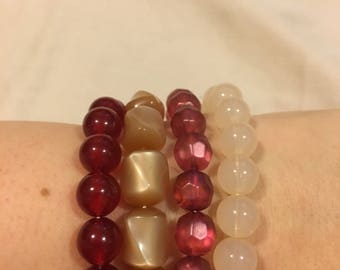 4 Stackable Beaded Bracelets: Cream, Raspberry, Cranberry and Butterscotch