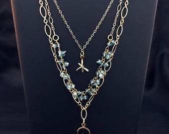 Layered Tri-Strand Gold Filled Necklace With Dragonfly and Bird