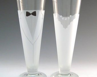 Bride and Groom Pilsner Glasses -  - Make your wedding day even more elegant and special with these handmade glasses!