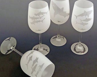 Set of Four Shark Red Wine Glasses - permanently frosted with images of the ocean's most feared hunter.
