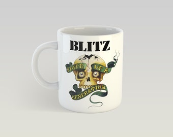Blitz 11oz Coffee Mug Oi Punk Skinhead Cocksparrer Oxymoron Rixe Cockney Rejects UK Subs One Way System Vice Squad Sham 69