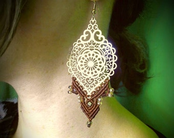 Pink Gold Macrame  Earrings, Boho, Chic, Gipsy, Tribal,Ethnic ,by Chrysa's hands