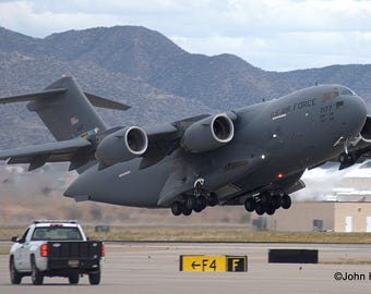 C-17 from Dover AFB taking off from Kirtland AFB