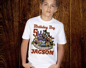 Personalized Five nights at Freddy's Birthday Shirt Add Name & AGE,Five nights at Freddy's Custom Shirt,P006