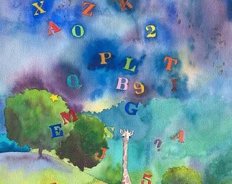 Alphabet Storm an Original Watercolor Painting