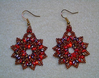 Beaded Red and Gold Flower Earrings
