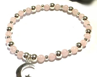 Rose Quartz and 925 Silver Charm Bracelet, Mothers Day, Love Gift, Gemstone Moon and Back Jewellery, Stacking Bracelet, FREE UK DELIVERY