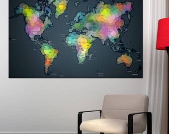 Detailed world map etsy colorful detailed world map wall art with countries names canvas print large colorful wall art home gumiabroncs Image collections