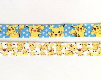 "Pokemon Pikachu 7/8"" 22 mm Grosgrain Ribbon for Hair Bows Scrapbooking Crafts Party Cake Birthday Decoration"