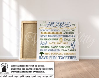 Family sayings svg, in this house we, square word collage, ai dxf emf eps pdf png psd svg svgz tif files for cricut, silhouette, brother