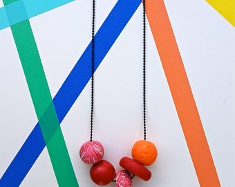 Polymer clay beaded necklace.