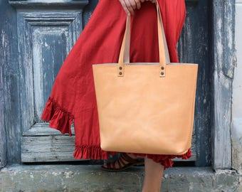 Tote bag Tote bag with pockets Large leather tote bag Natural color  Hand stitched  Handmade tote  Shoulder bag