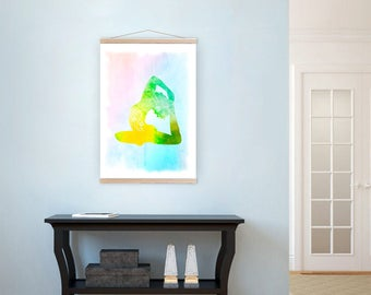 Yoga bedroom decor, Pigeon pose, Asana pose wall art, Canvas illustration, Yoga canvas print