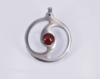 Pendant large with Carneol cabochon stainless steel elegant festive hand work