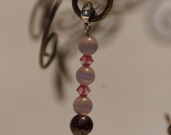 Nepalese Garnet, Swarovski & Catseye Earrings