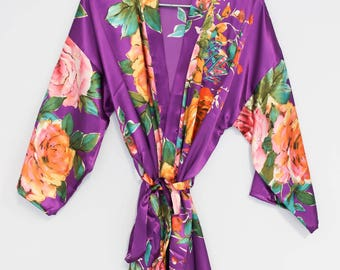 Floral Satin Robes, Floral Bridesmaid Robes, Floral Kimono Robes, Kimono Bridal Robe, Maid of Honor Robe, Embroidery Robe