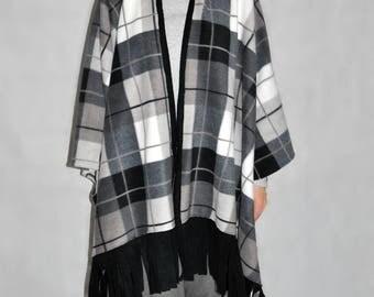 Plaid Fleece Cape- gray, white, black, poncho, kimono, anti-pill fleece