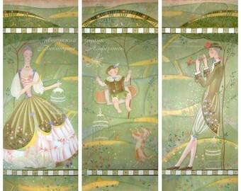 Custom Sheer Handpainted Curtains 3 Panels extra long Pastorale