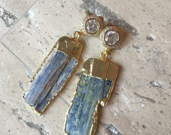Blue Kyanite Gold Plated and Gold CZ Pave Earring