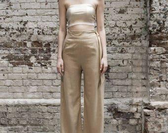 Glitter Gold Palazzo Wide Leg Trousers