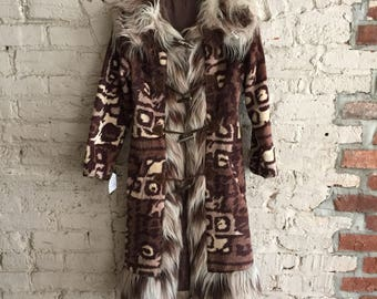 Mohabi by North Bay 1960s/1970s fun animal print faux fur coat