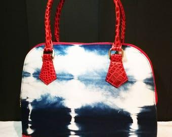 Half Moon Red Leather & Indigo Handbag