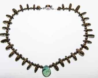 Jasper Necklace - Dalmation Jasper, Flourite, Stirling Silver