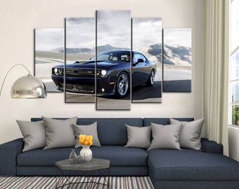 Dodge Challenger canvas, Muscle car print, Dodge Challenger SRT, muscle car poster, Multipanel canvas, Gift for him, Dodge, Dodge print