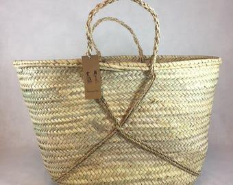 Basket leaf Palm basket braided basket natural basket shopping basket craft Shopping basket Natural basket Moroccan basket