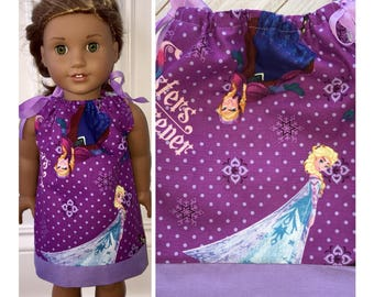 "18"" Doll Clothes/Doll Pillowcase Dress/American Girl Dress/Disney/Frozen"