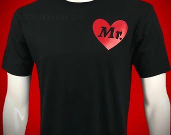 "Men's T-Shirt ""Mr"" Red Heart Black T-Shirt, Men's Graphic Tees, Birthday Gift Husband, Men's Anniversary Gift Husband, Mens Gift"