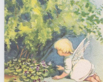 Vintage 1940s tiny note card with illustration of angel and violets