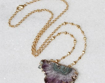 Amethyst Stalactite Matte Gold Necklace