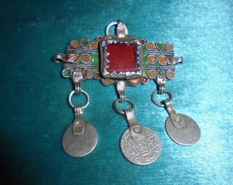 Moroccan Jewelry,fine old silver enamel Berber Tiznit pendant w glass, coins,great shape and style