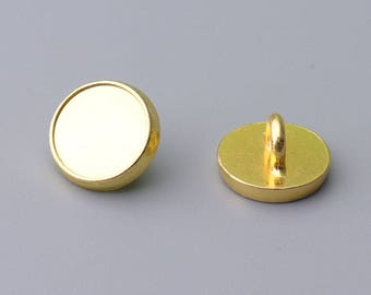 10pcs small round metal button simple shiny side button 11.5mm gold button