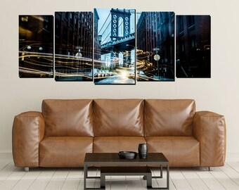 Brooklyn Bridge Canvas Wall Art, Large 5 Panel Canvas, New York, City Life, Home Decor Wall, Traffic Lights