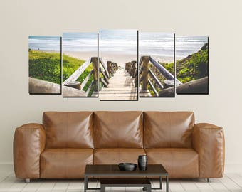 Beach Ocean Canvas Wall Art, Print, Wooden Steps to Beach, Large 5 Panel Canvases, Beach House Decor, Beach Lovers Photography
